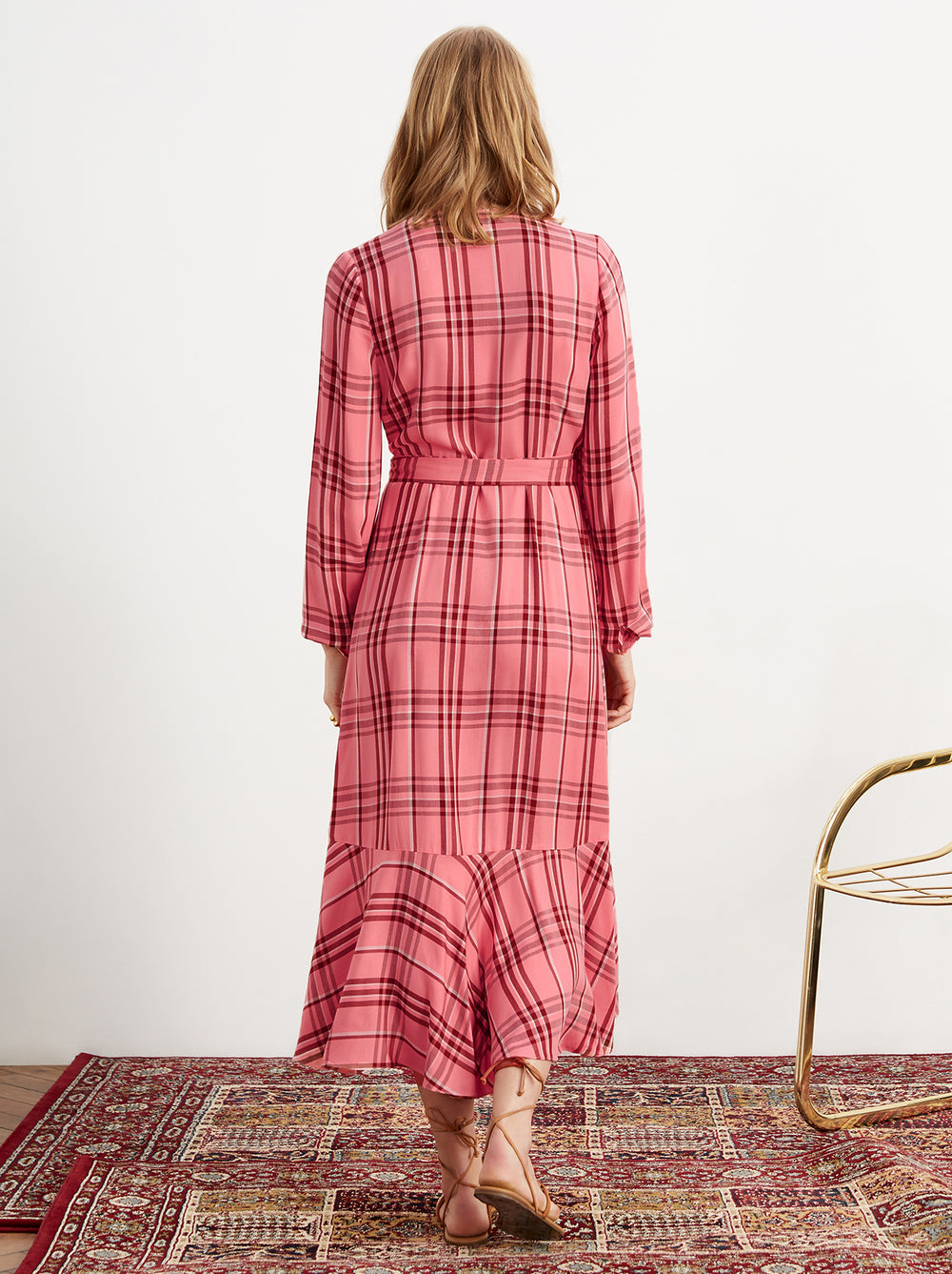 Anissa Pink Check Frill Wrap Midi Dress by KITRI Studio