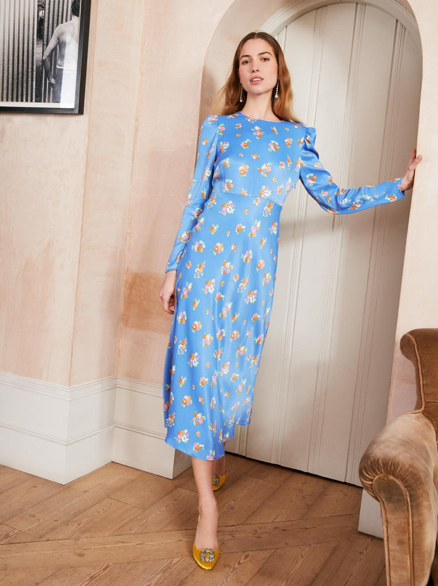 Anna Blue Ditsy Print Midi Dress by KITRI Studio