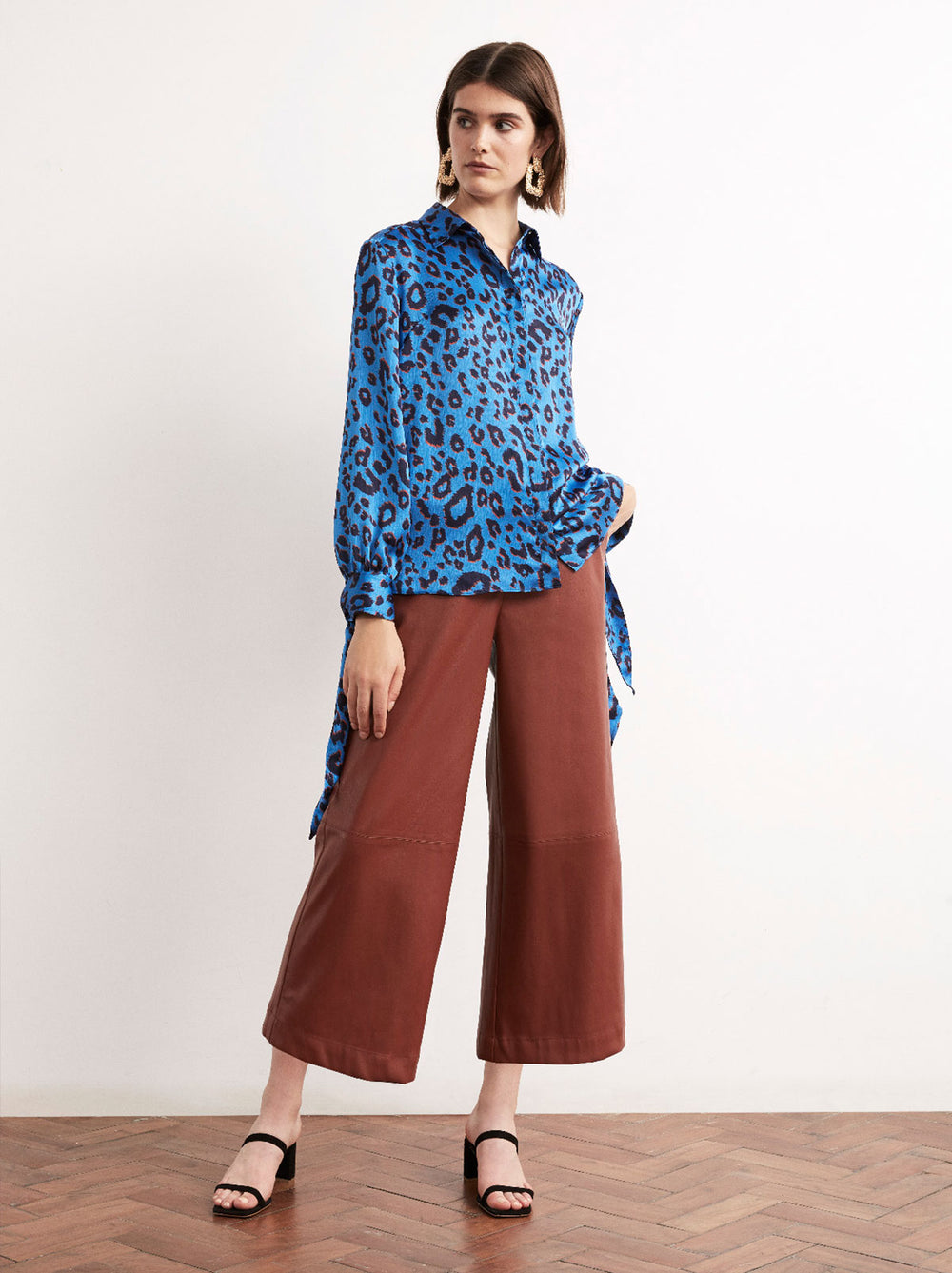 Antonia Animal Print Tie Sleeve Blouse by KITRI Studio