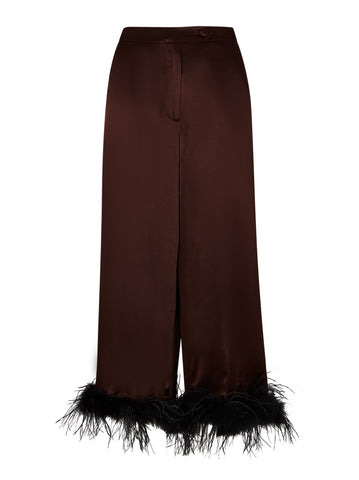 Apollo Chocolate Satin Feather Trousers  by KITRI Studio