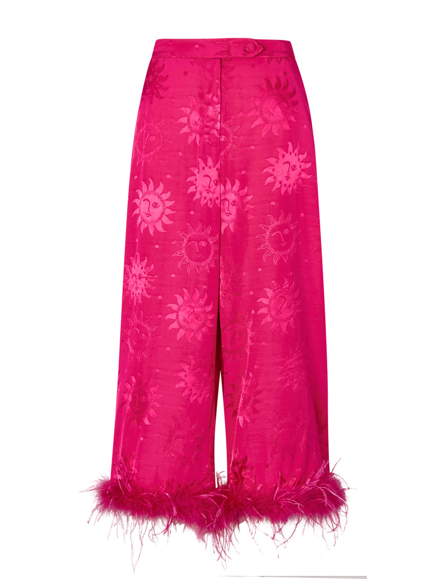 Apollo Pink Feather Trousers by KITRI Studio