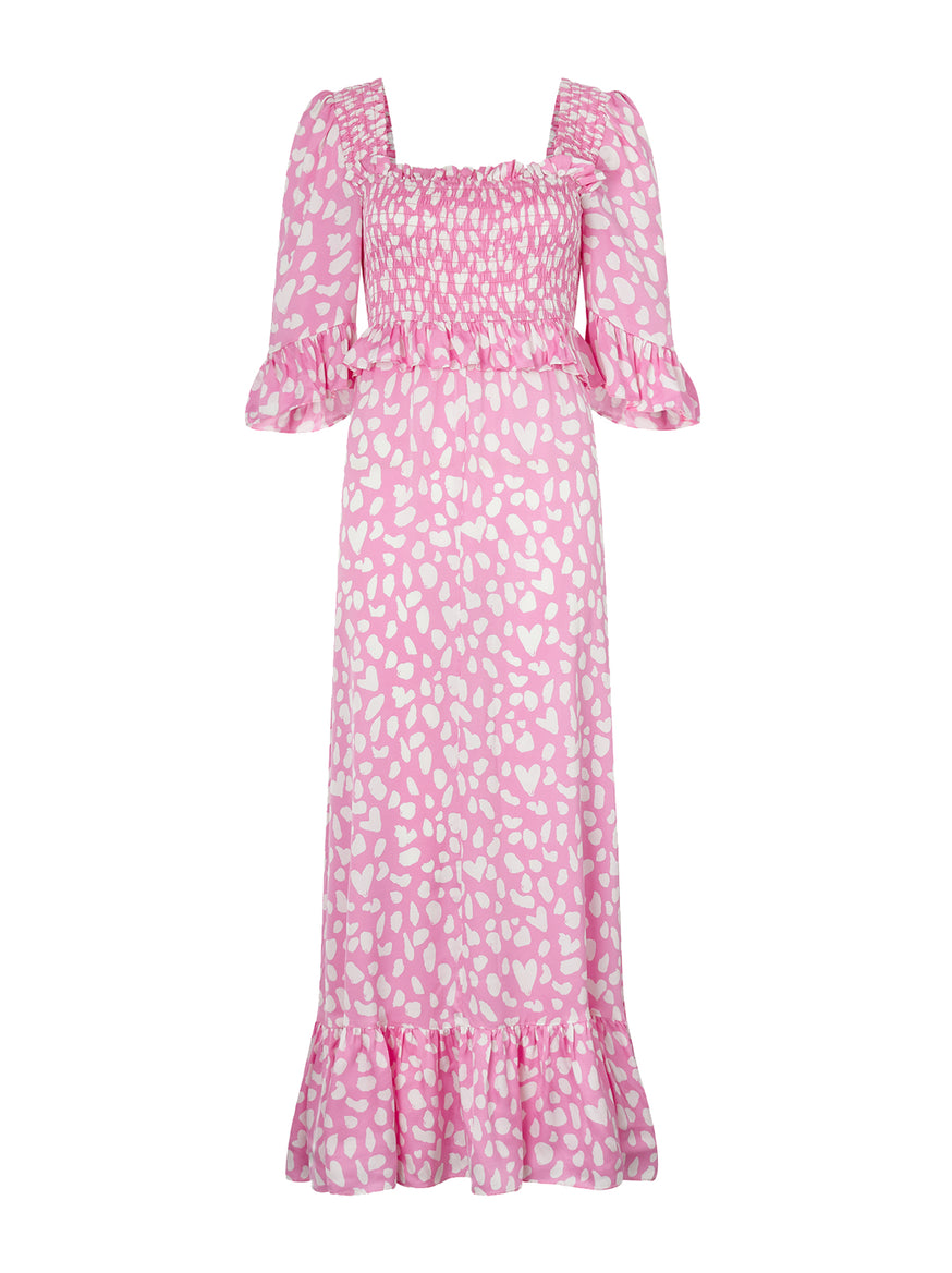 Pre-order: Ara Pink Animal Print Smocked Dress