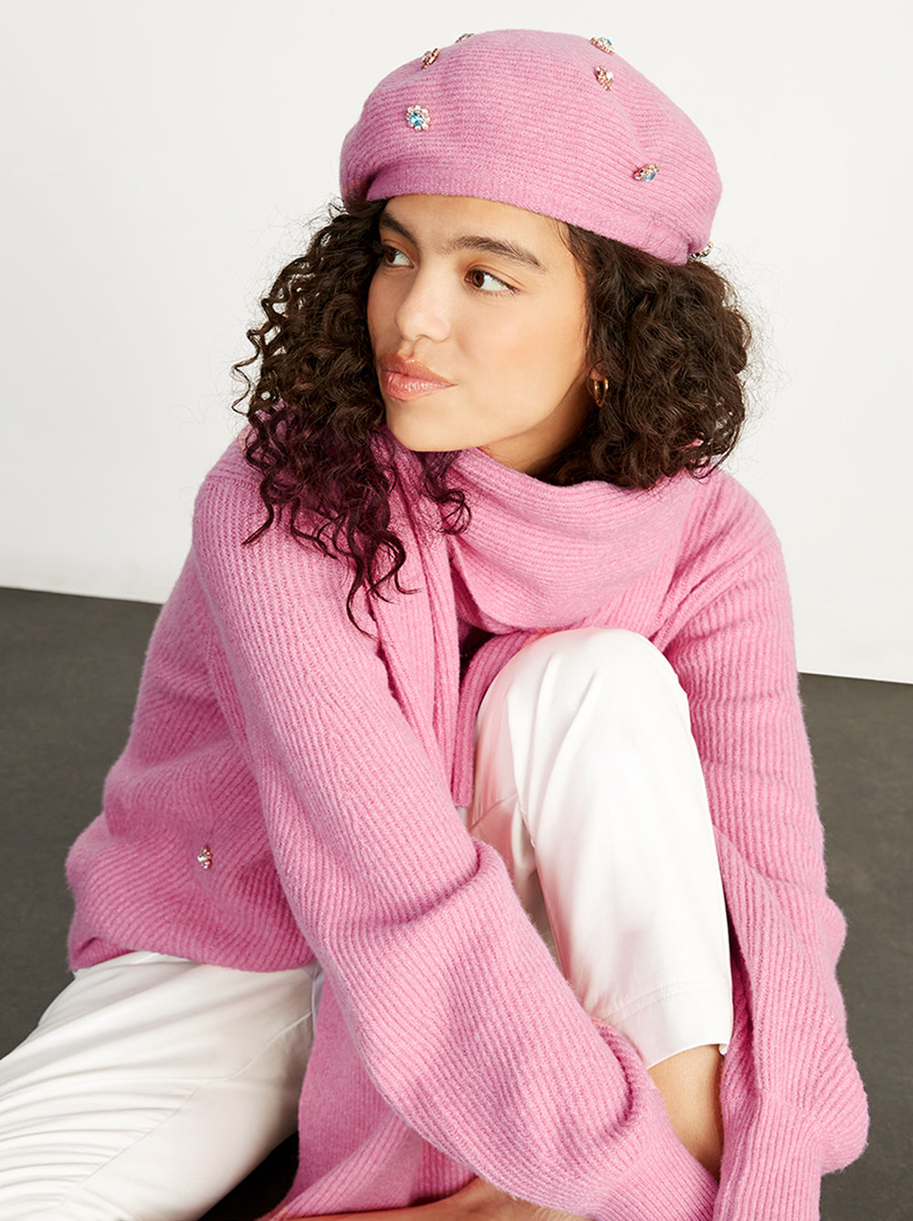 Ara Pink Knit Scarf by KITRI Studio