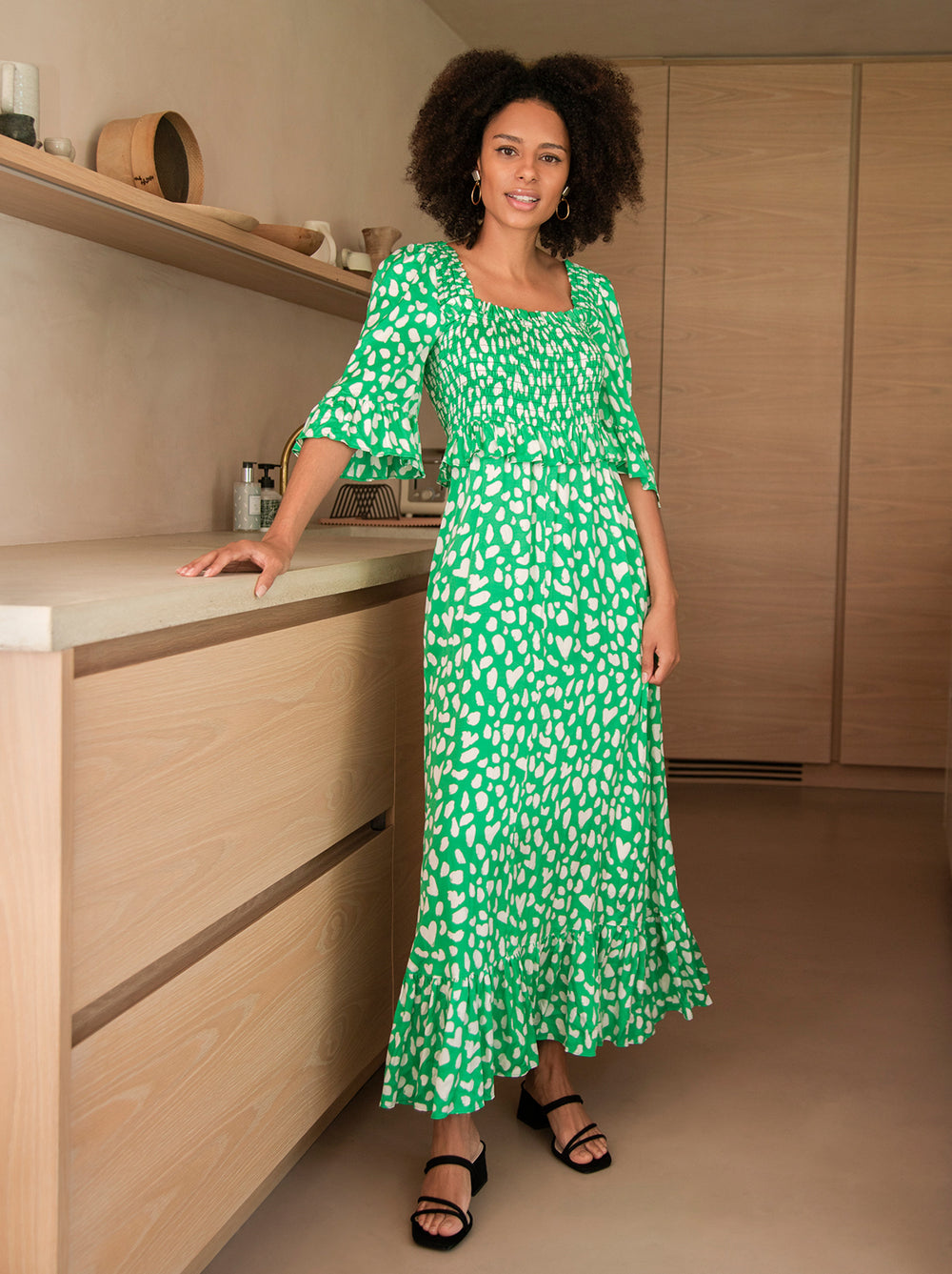 Ara Green Animal Print Smocked Dress