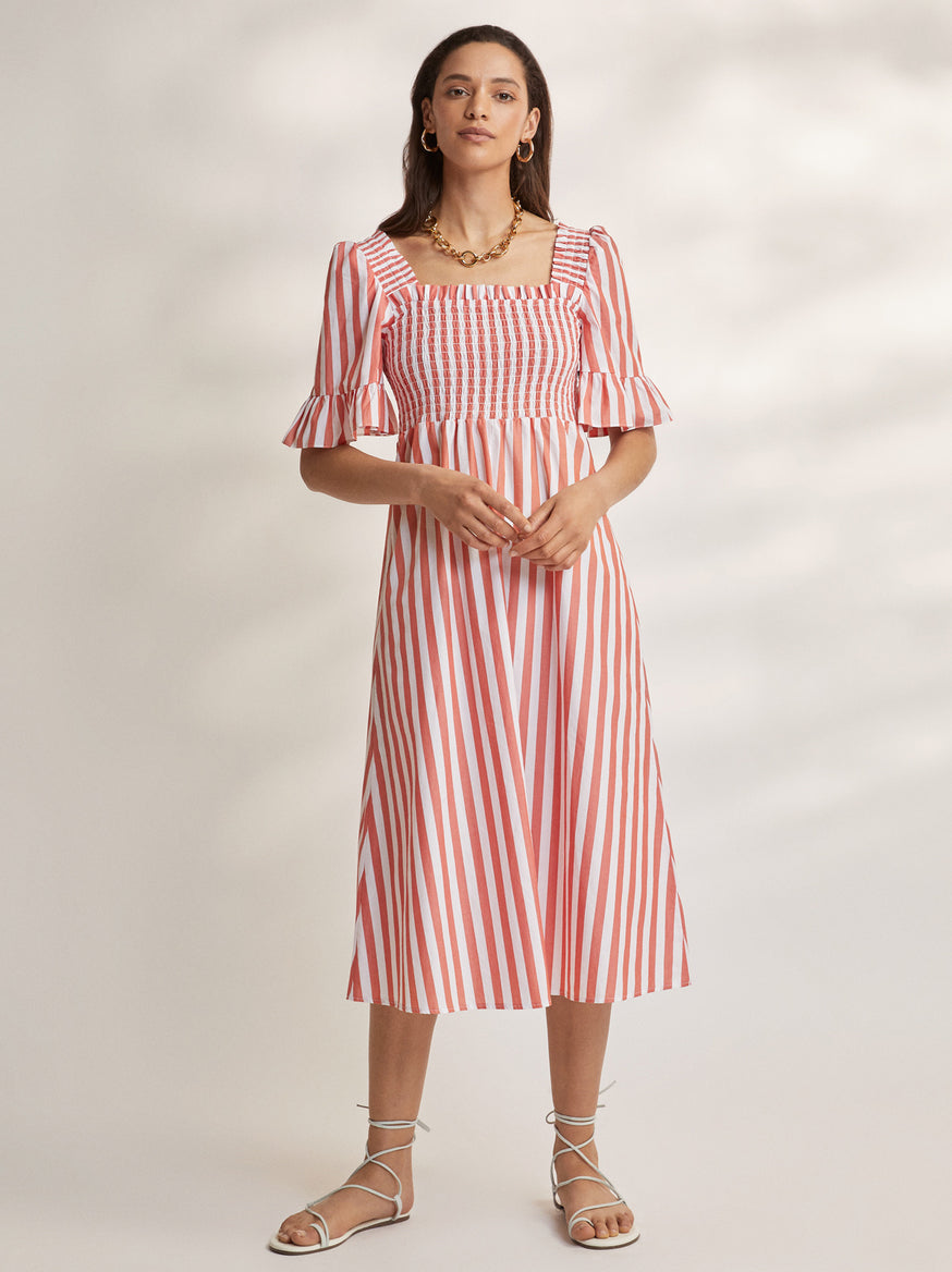 Arabella Striped Cotton Shirred Dress by KITRI Studio