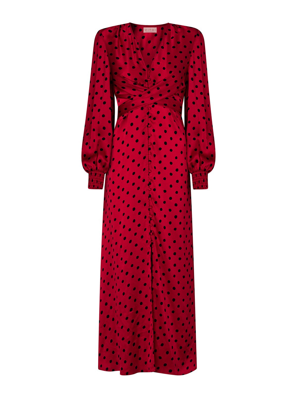 Aurora Red Polka Dot Maxi Dress