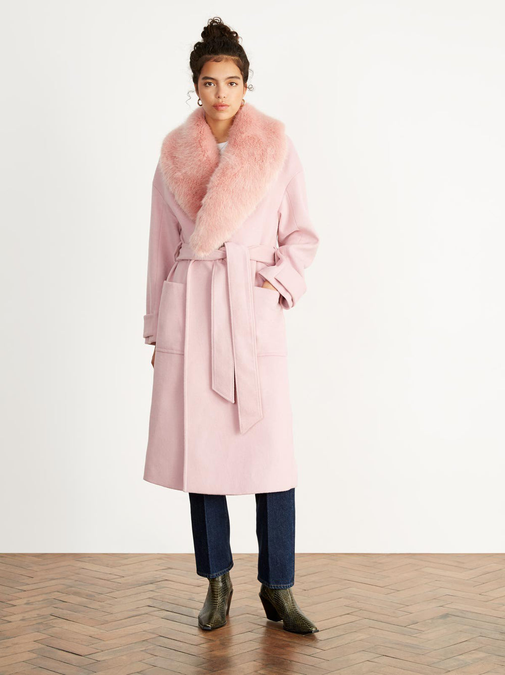 Ava Pink Wool Blend Coat by KITRI Studio