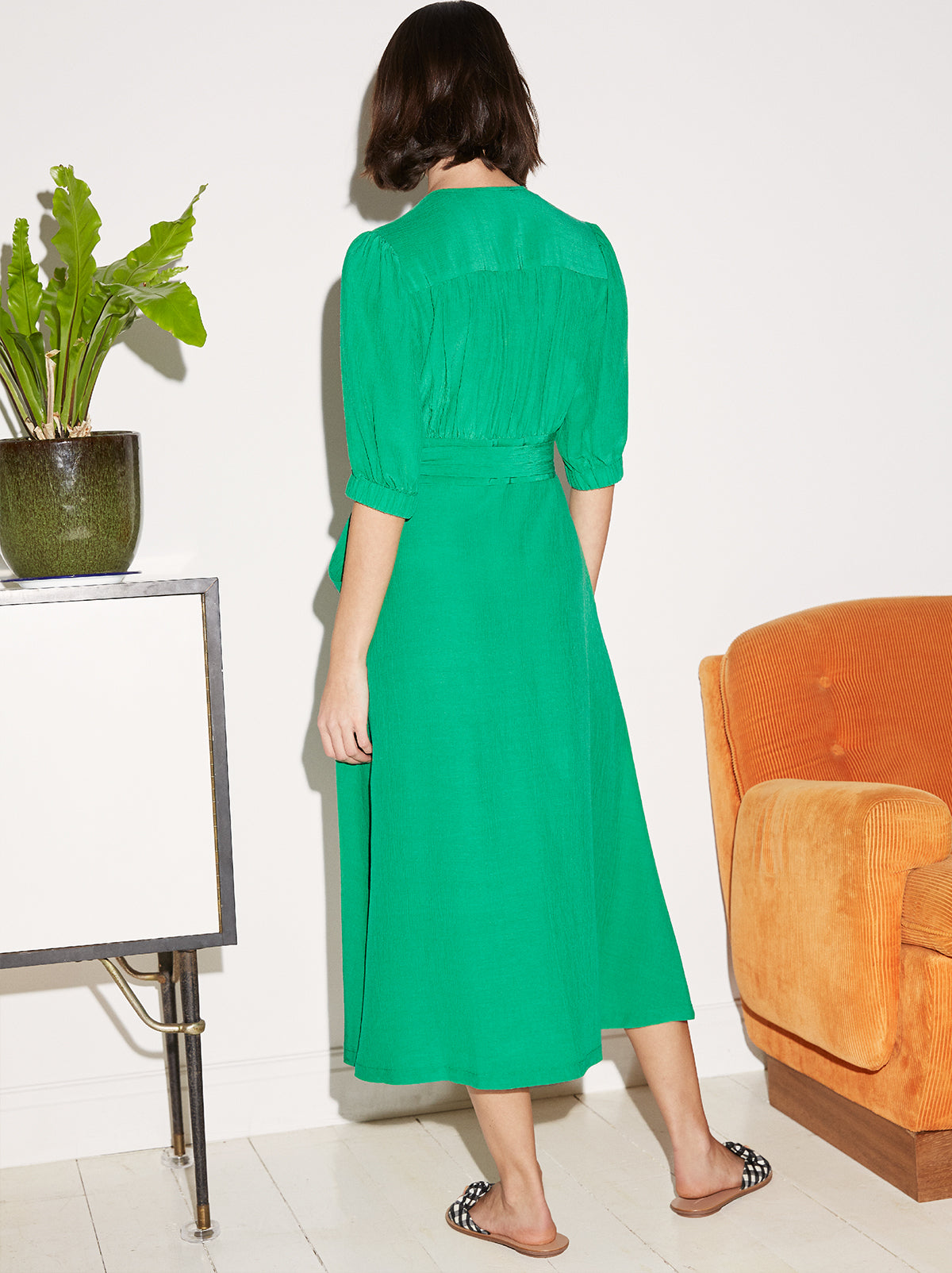 Ayesha Green Wrap Midi Dress by KITRI Studio