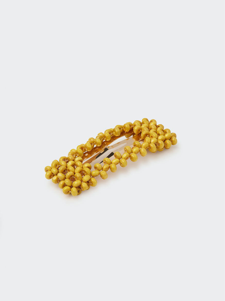 Beaded Yellow Hair Clip