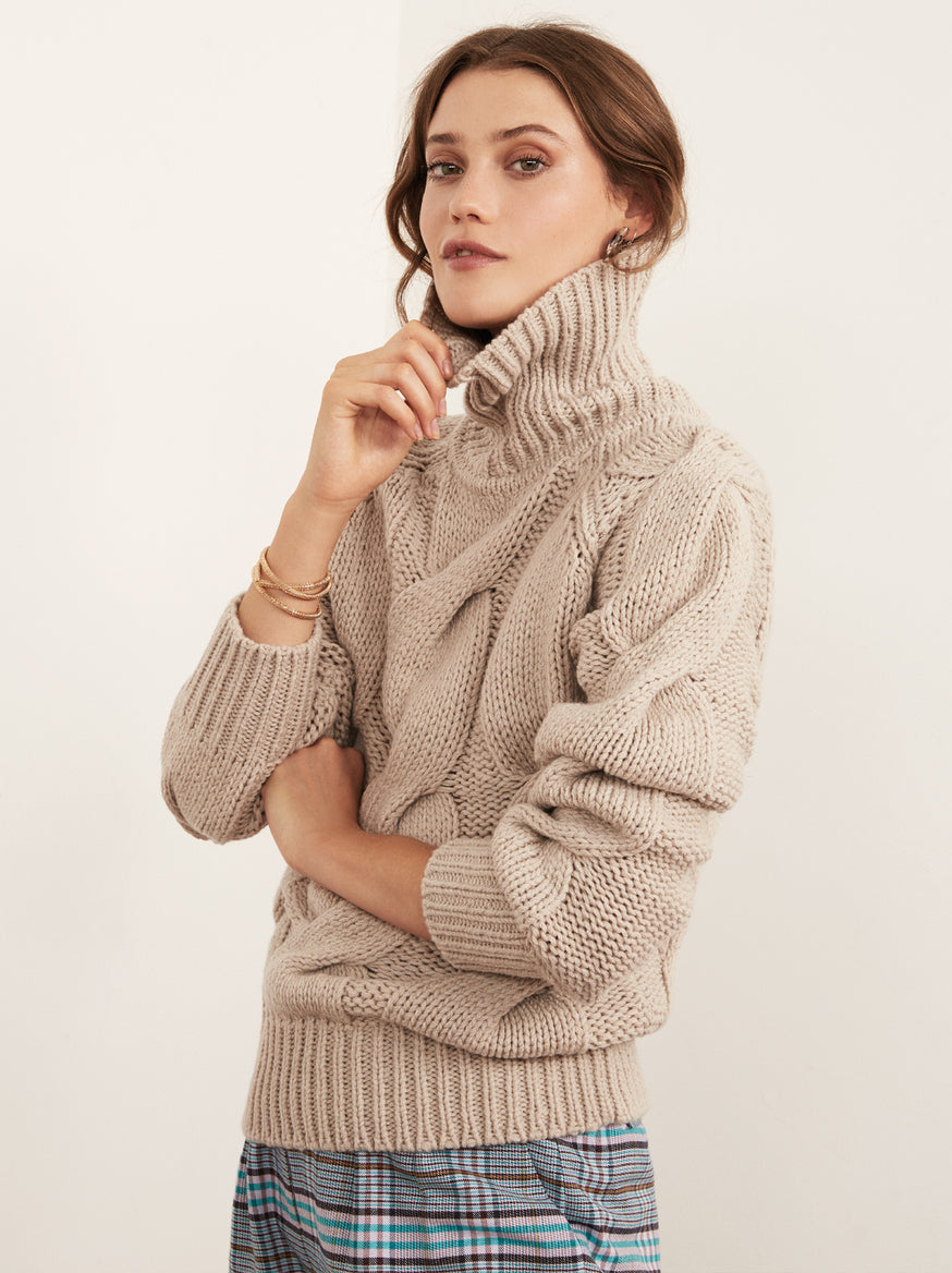 Belle Ecru Wool Cable Knit Jumper by KITRI Studio
