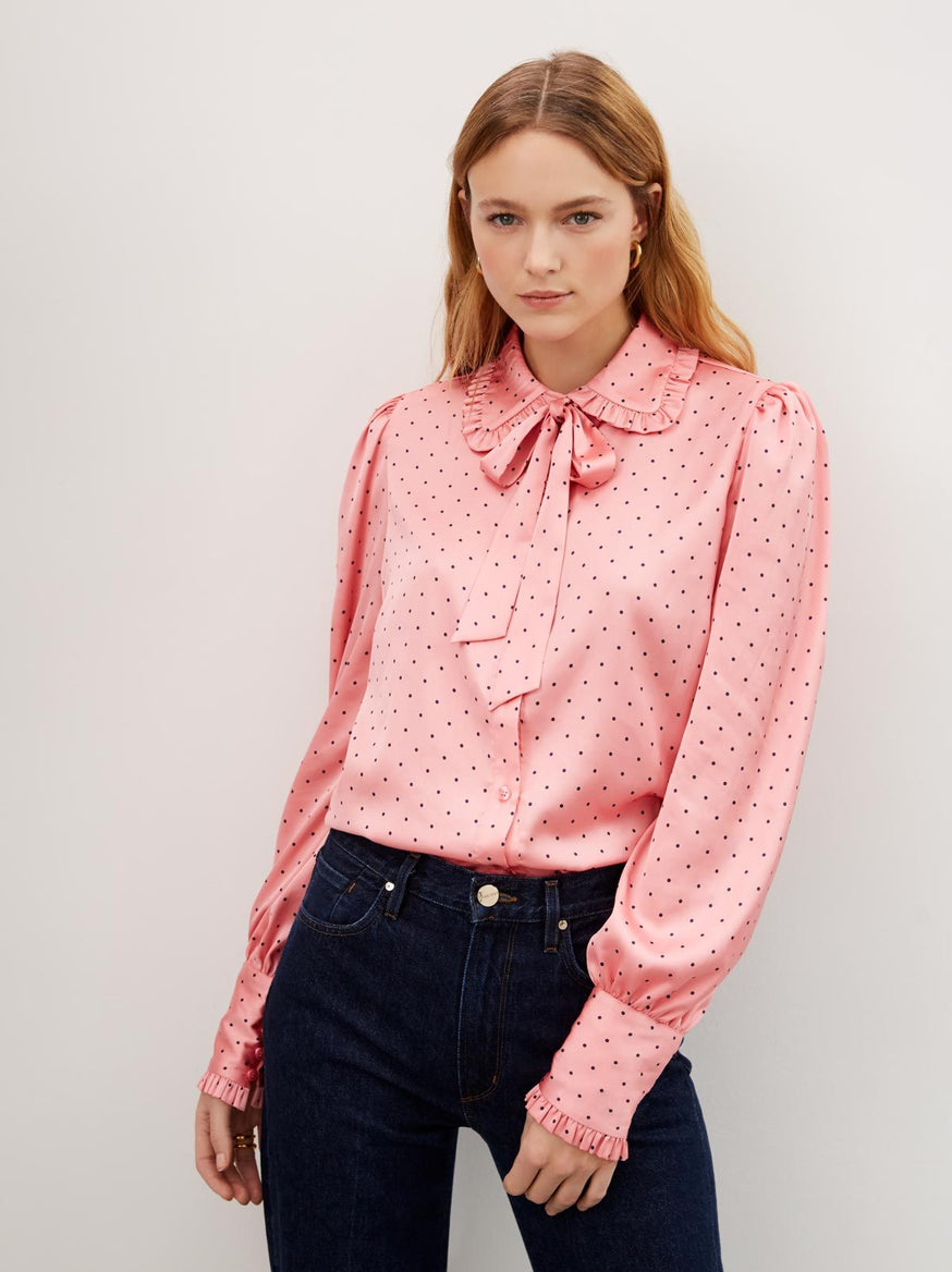 Bessie Pink Polka Dot Pussy Bow Blouse by KITRI Studio