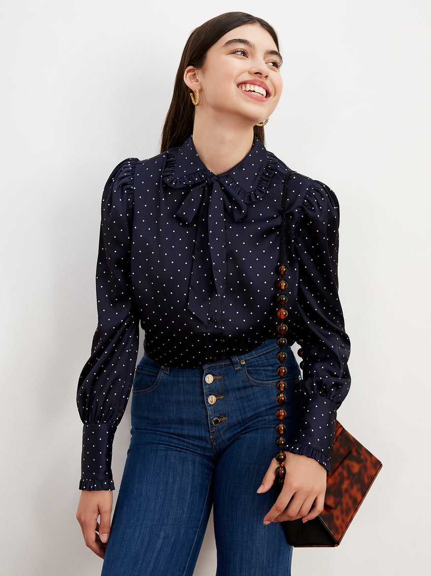 Besie Navy Polka Dot Pussy Bow Blouse by KITRI Studio
