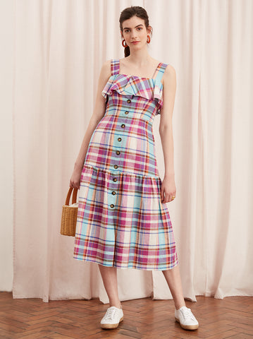 Blakeley Pink Linen Check Midi Dress by KITRI Studio