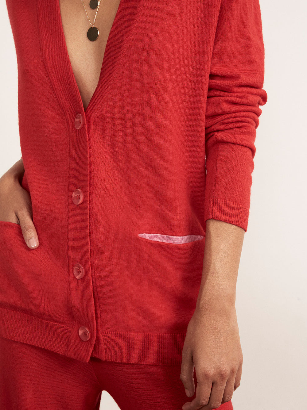 Bonnie Red Merino Wool Cardigan by KITRI Studio