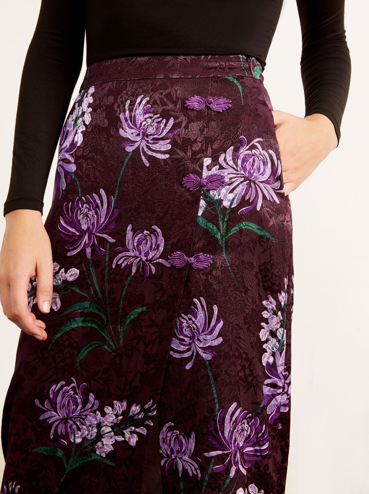 Bretta Purple Floral Print Pencil Skirt by KITRI Studio