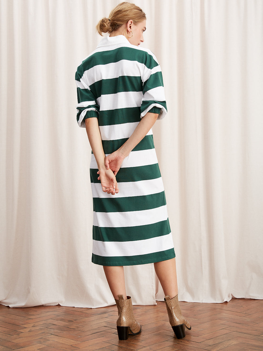 Bridget Cotton Rugby Striped Midi Dress by KITRI Studio
