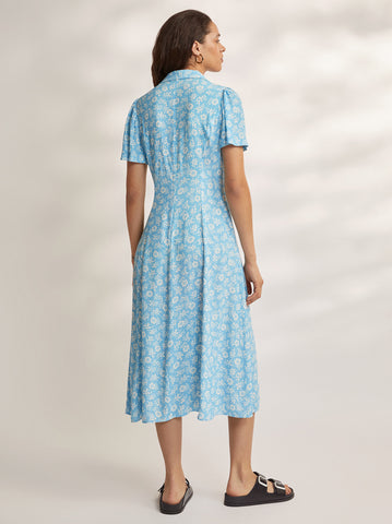 Calley Blue Floral Shirt Dress by KITRI Studio