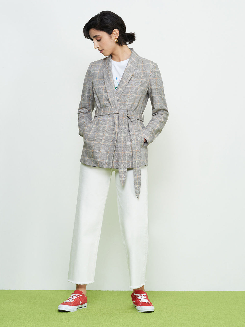 Camilla Grey Check Linen Wrap Jacket by KITRI Studio