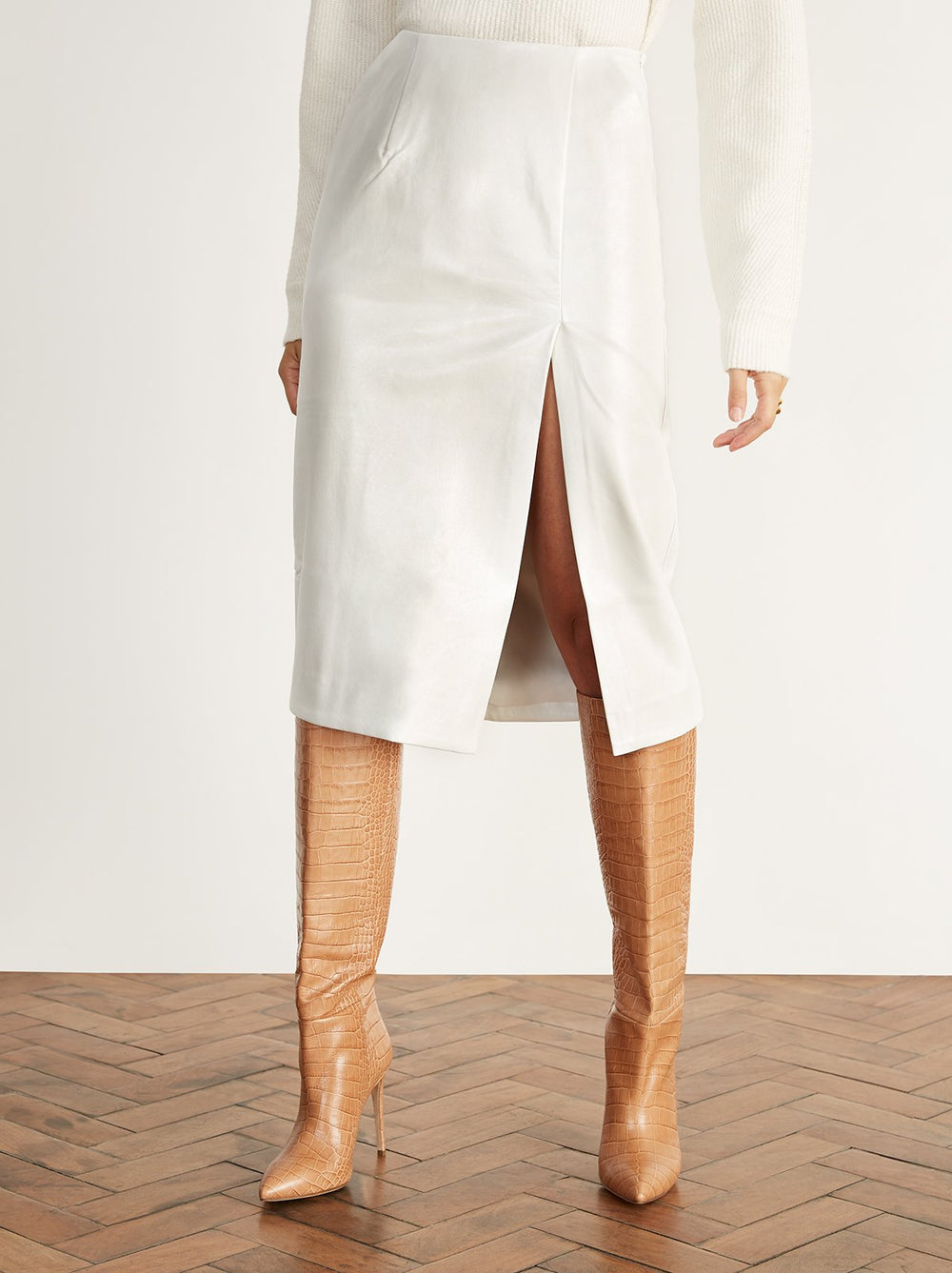 Carine Cream Vinyl Pencil Skirt by KITRI Studio