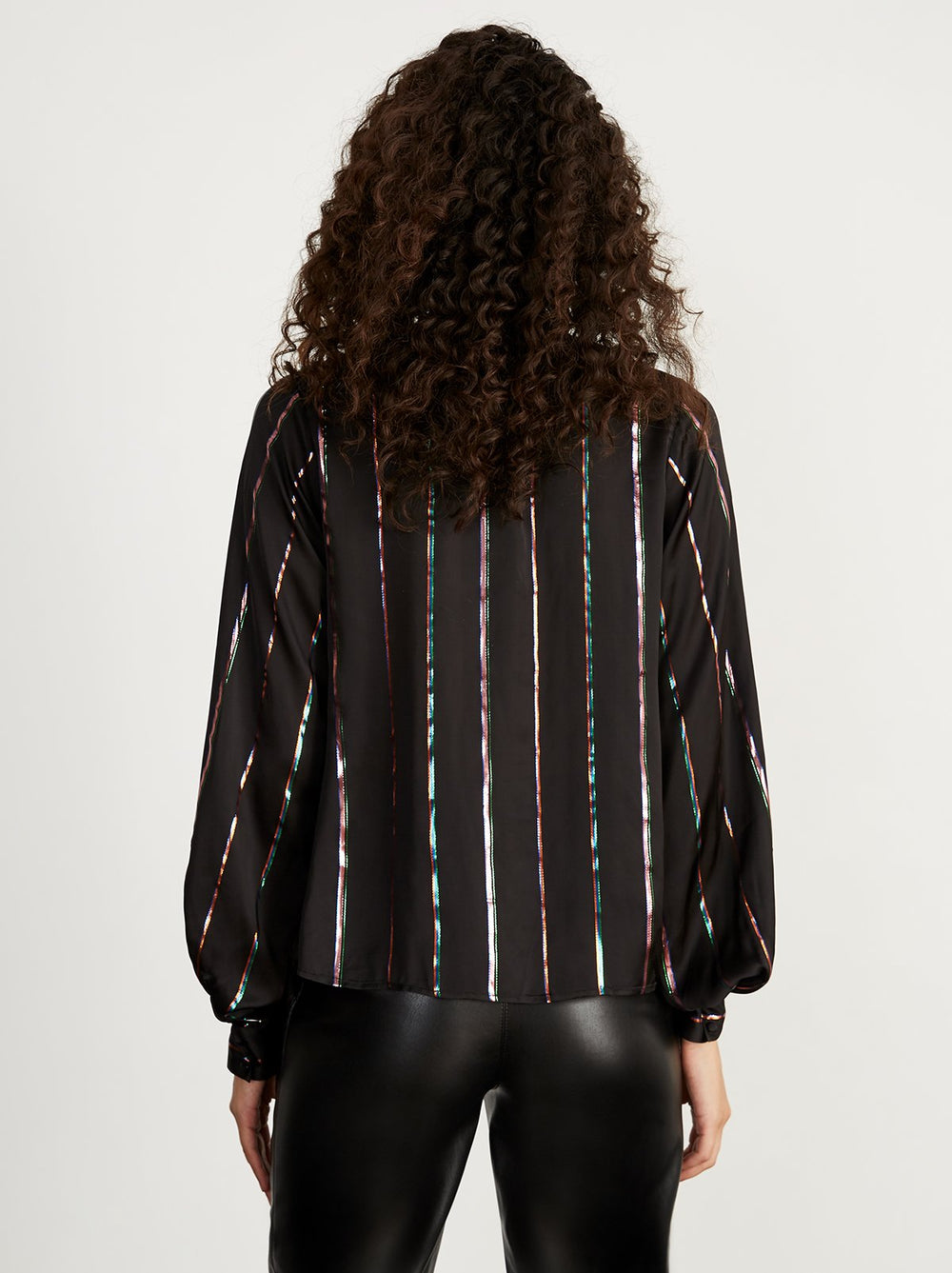Carmen Metallic Stripe Blouse by KITRI Studio