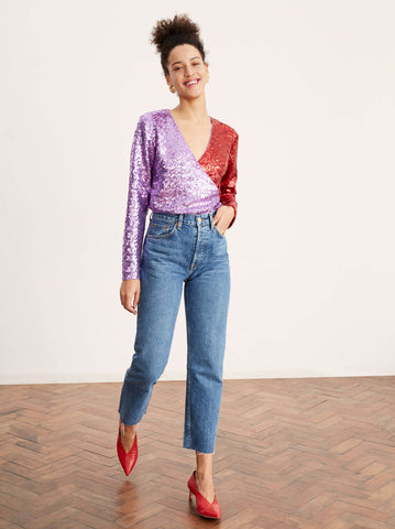 Carmina Sequin Wrap Top by KITRI Studio