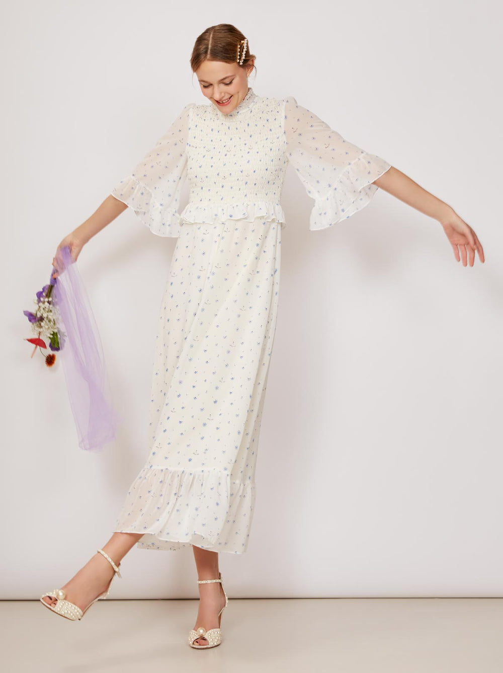Carrington Chiffon Smocked Dress by KITRI Studio