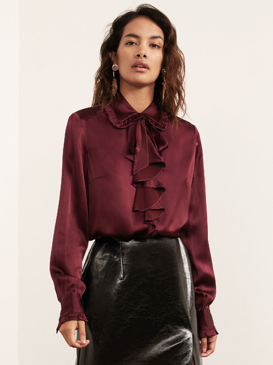 Carys Burgundy Silk Blend Frill Front Blouse by KITRI Studio