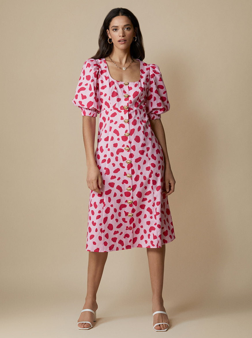 Cecilia Pink Animal Spot Dress by KITRI Studio