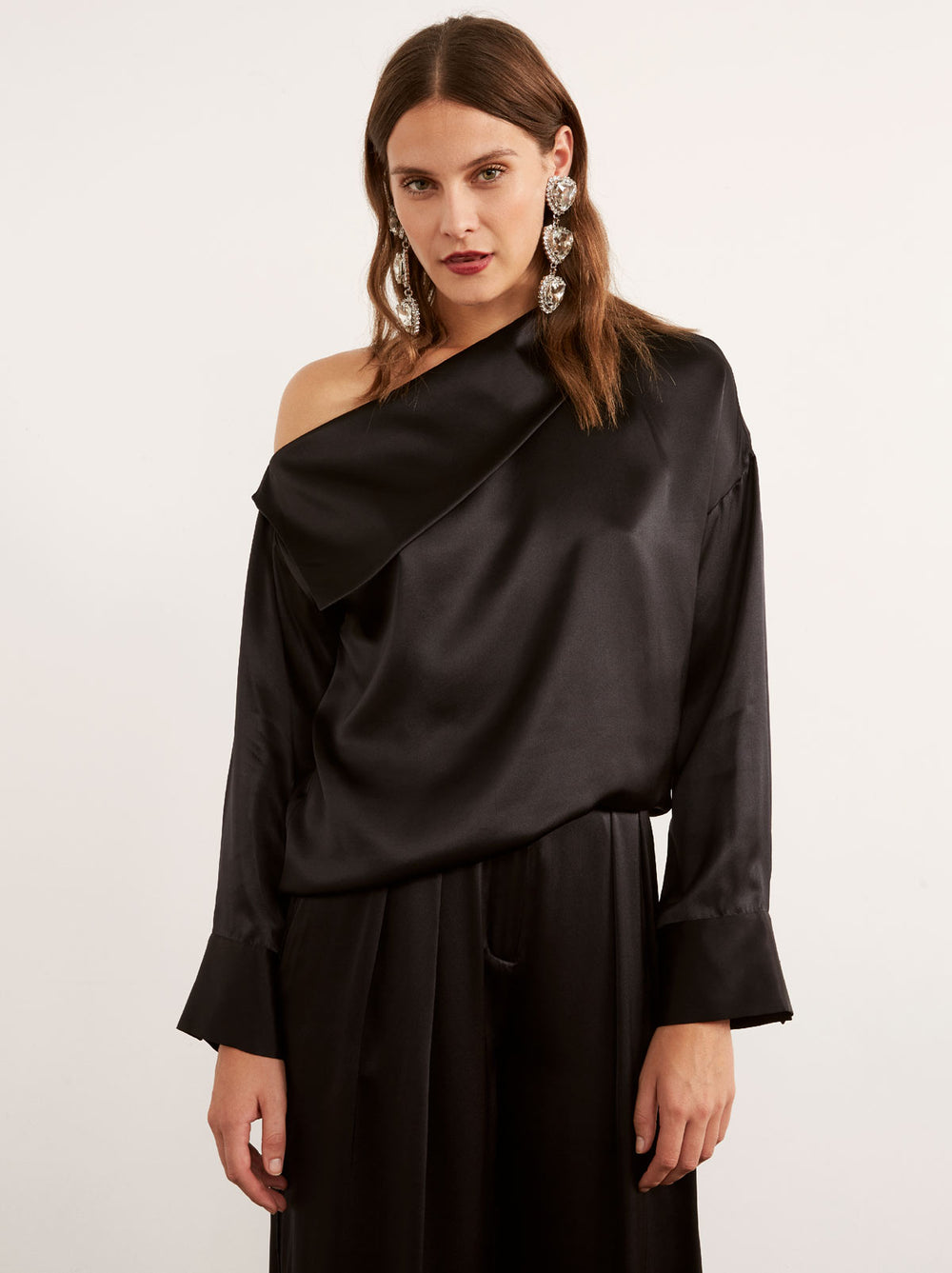 Chloe Black Silk Off Shoulder Top by KITRI Studio