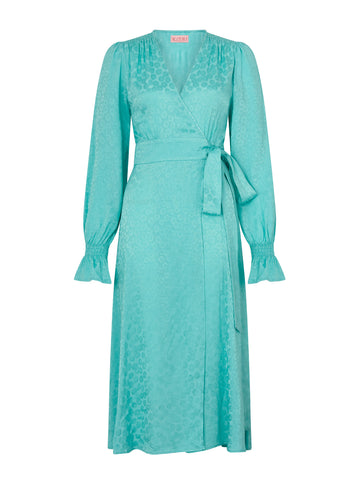 Claire Mint Daisy Jacquard Wrap Dress by KITRI Studio