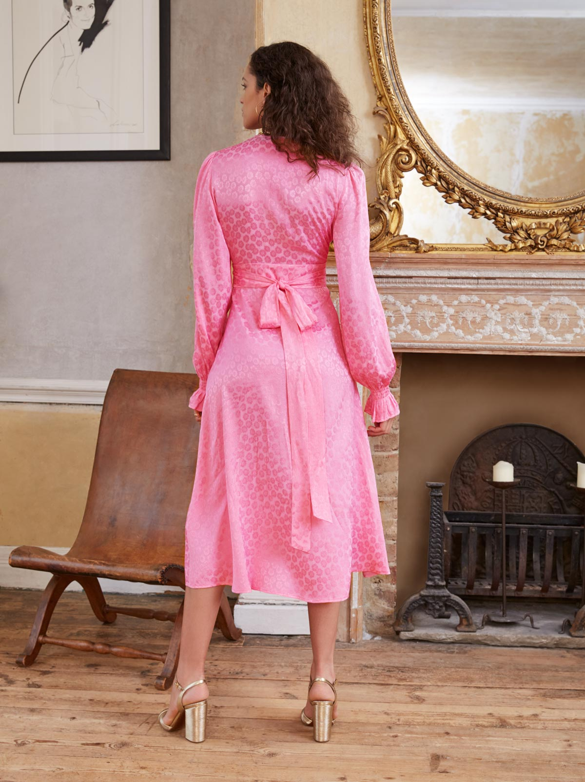 Claire Pink Daisy Jacquard Wrap Dress by KITRI Studio