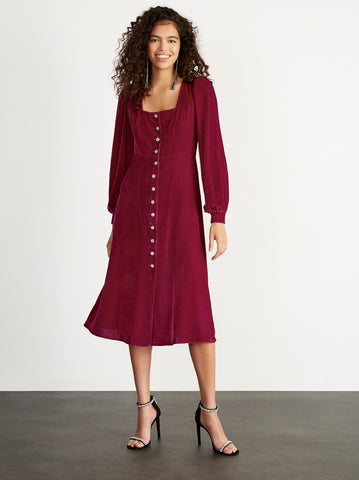 Clara Ruby Velvet Midi Dress by KITRI Studio
