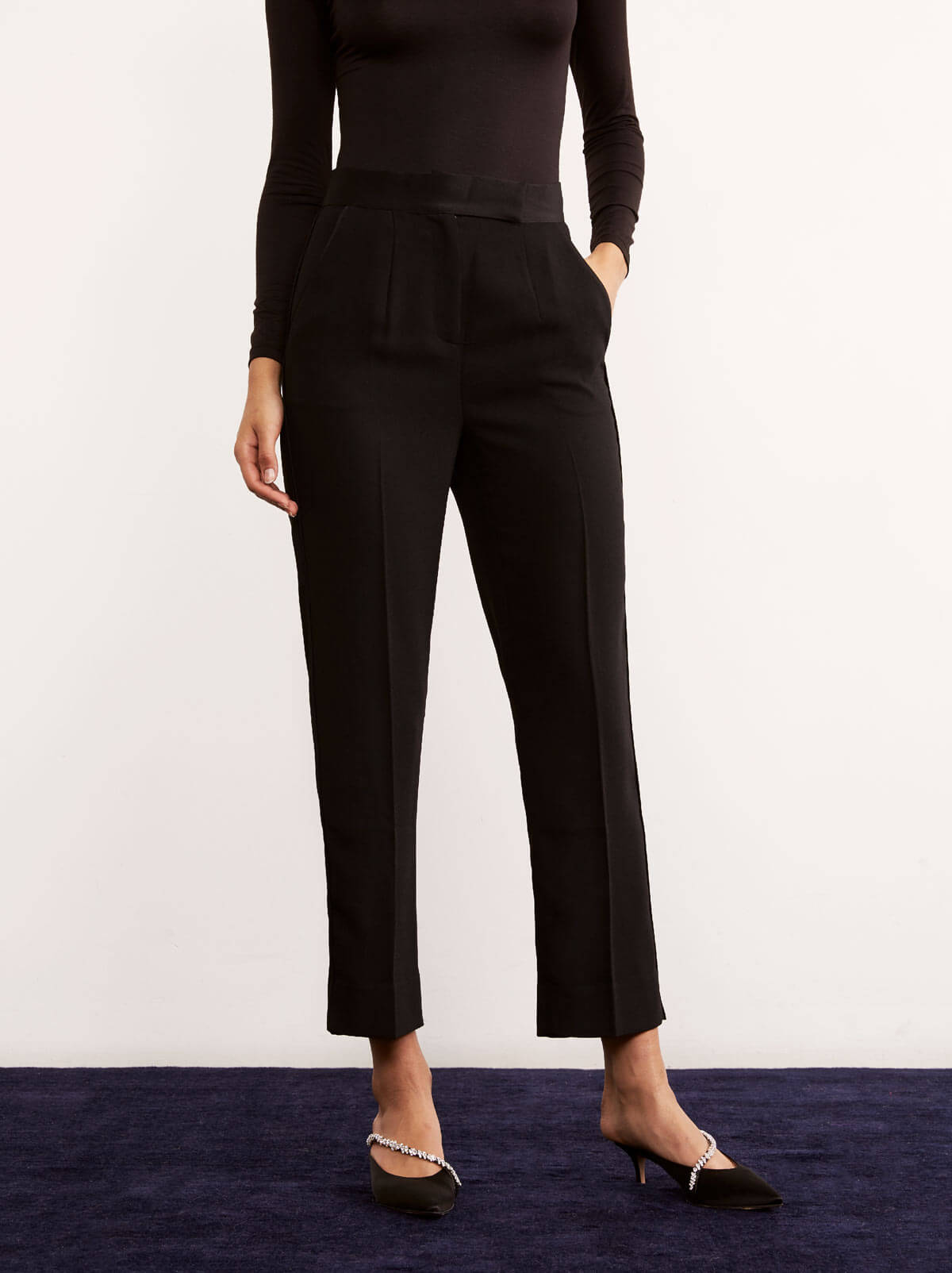 Claude Black Tailored Cigarette Trousers by KITRI Studio