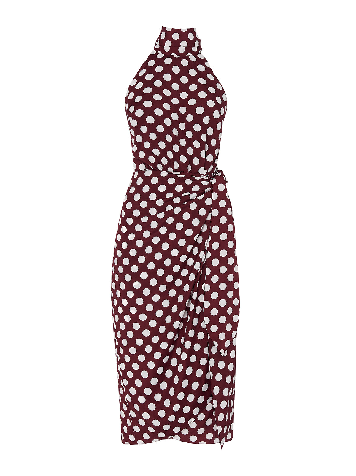 Constance Aubergine Polka Dot Midi Dress by KITRI Studio