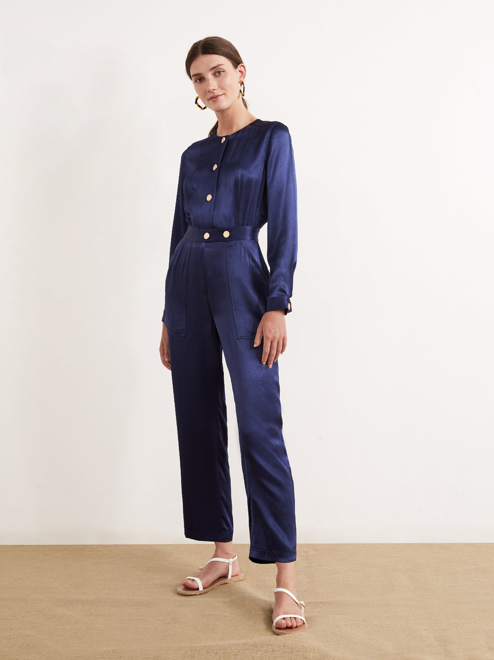 Delaney Navy Satin Jumpsuit by KITRI Studio