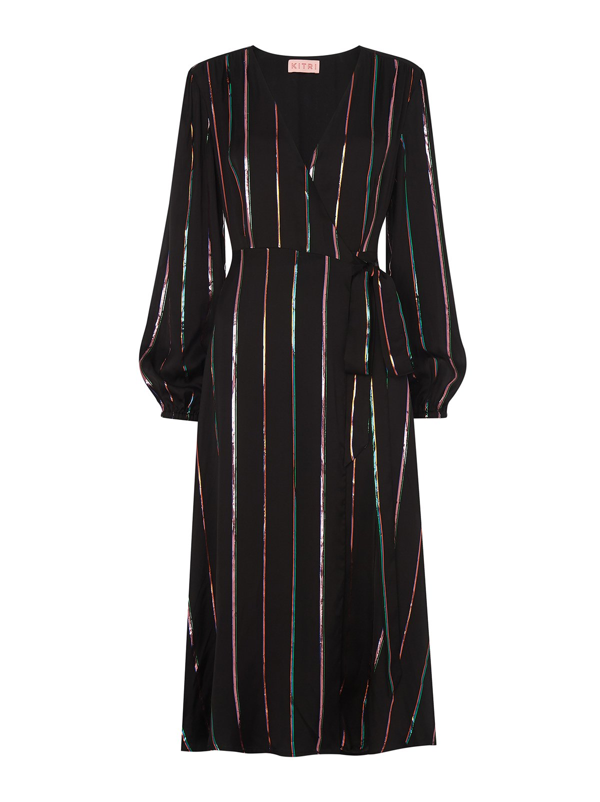 Diana Black Metallic Stripe Midi Wrap Dress by KITRI Studio