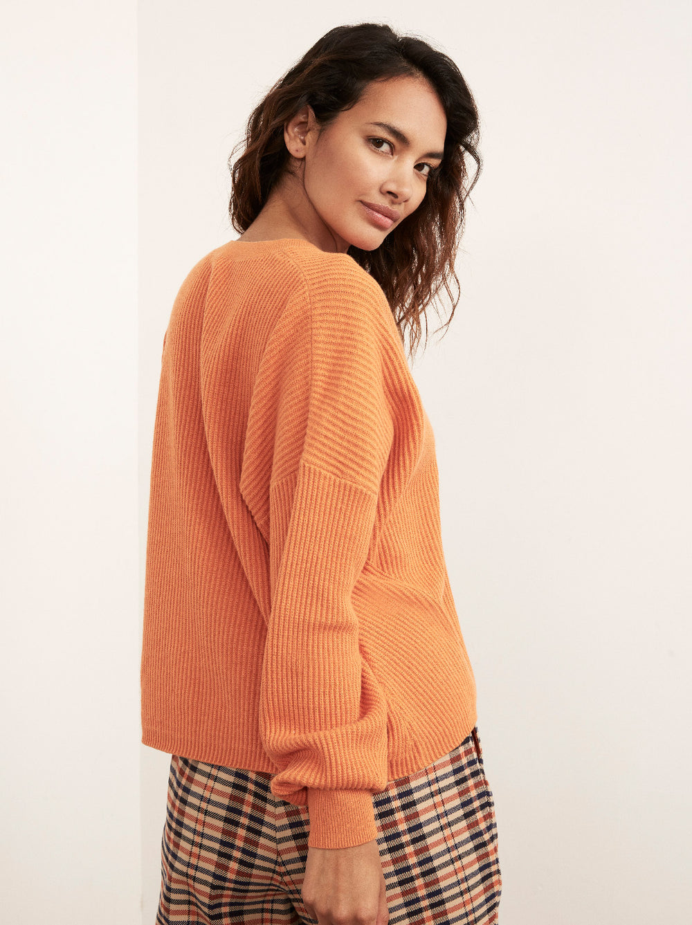 Dree Orange V-Neck Jumper by KITRI Studio