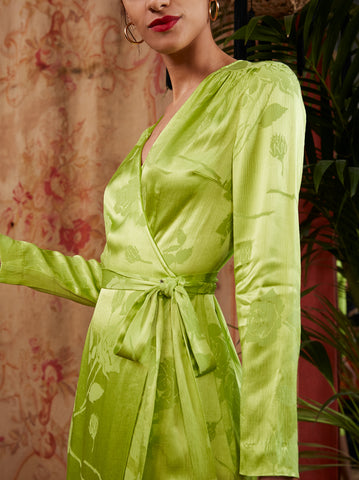 Effie Lime Green Jacquard Wrap Dress by KITRI Studio