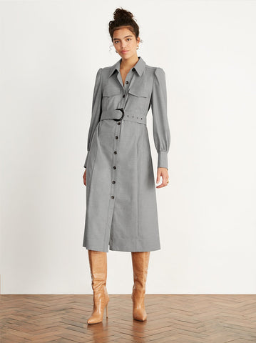 Elena Grey Flannel Shirt Dress by KITRI Studio