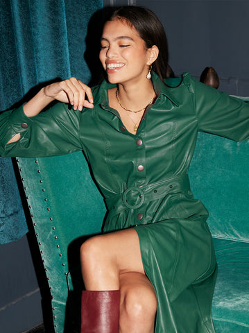 Elena Green Faux Leather Shirt Dress