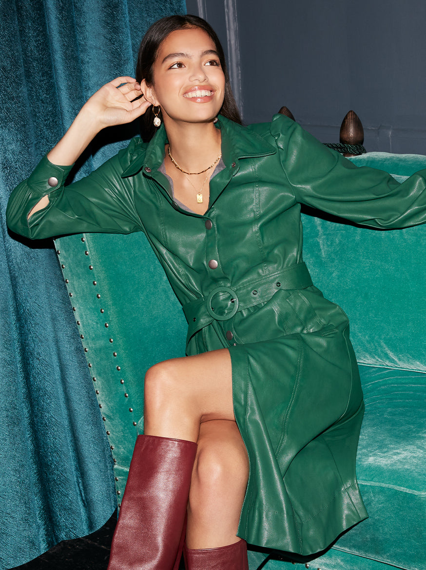 Elena Green Faux Leather Shirt Dress by KITRI Studio