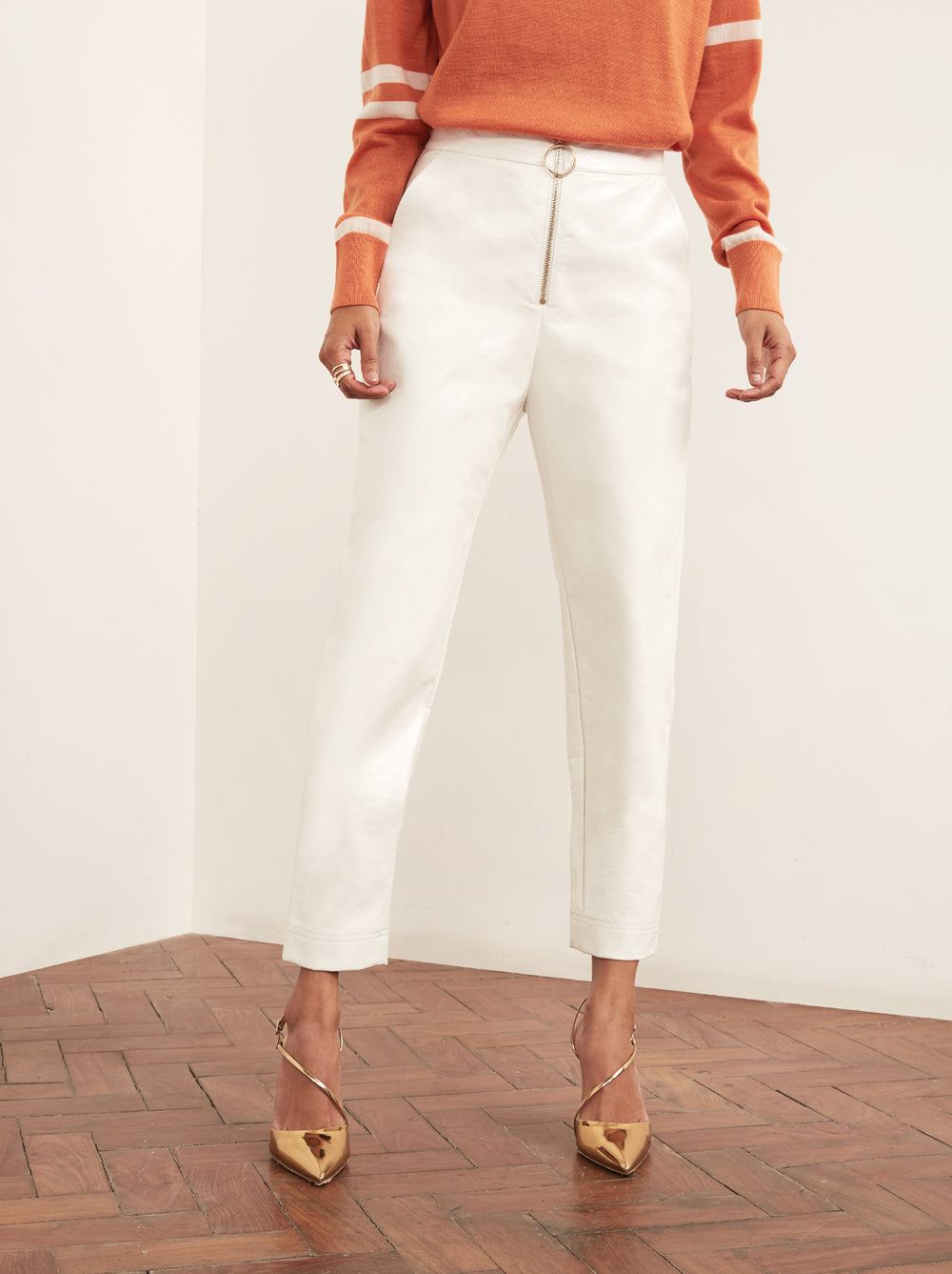 Eleonora Cream Vinyl Tapered Trousers by KITRI Studio