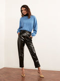 Eleonora Black Vinyl Tapered Trousers by KITRI Studio