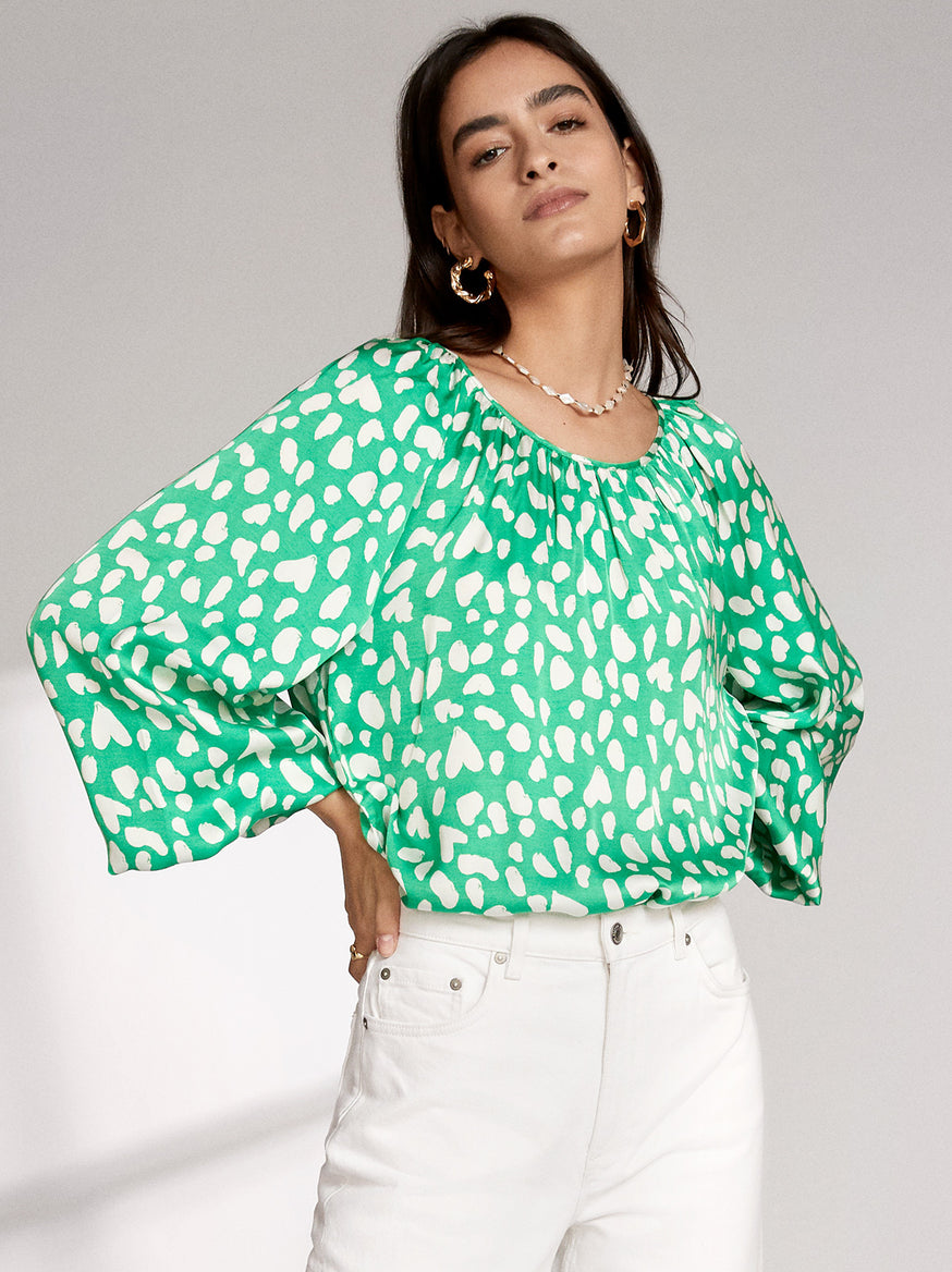 Elodie Green Animal Print Top by KITRI Studio