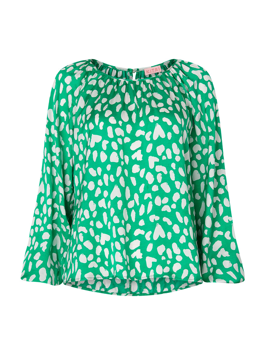 Elodie Green Animal Print Top