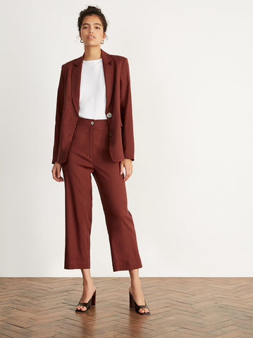 Elva Brick Linen Tailored Trousers Detail by KITRI Studio