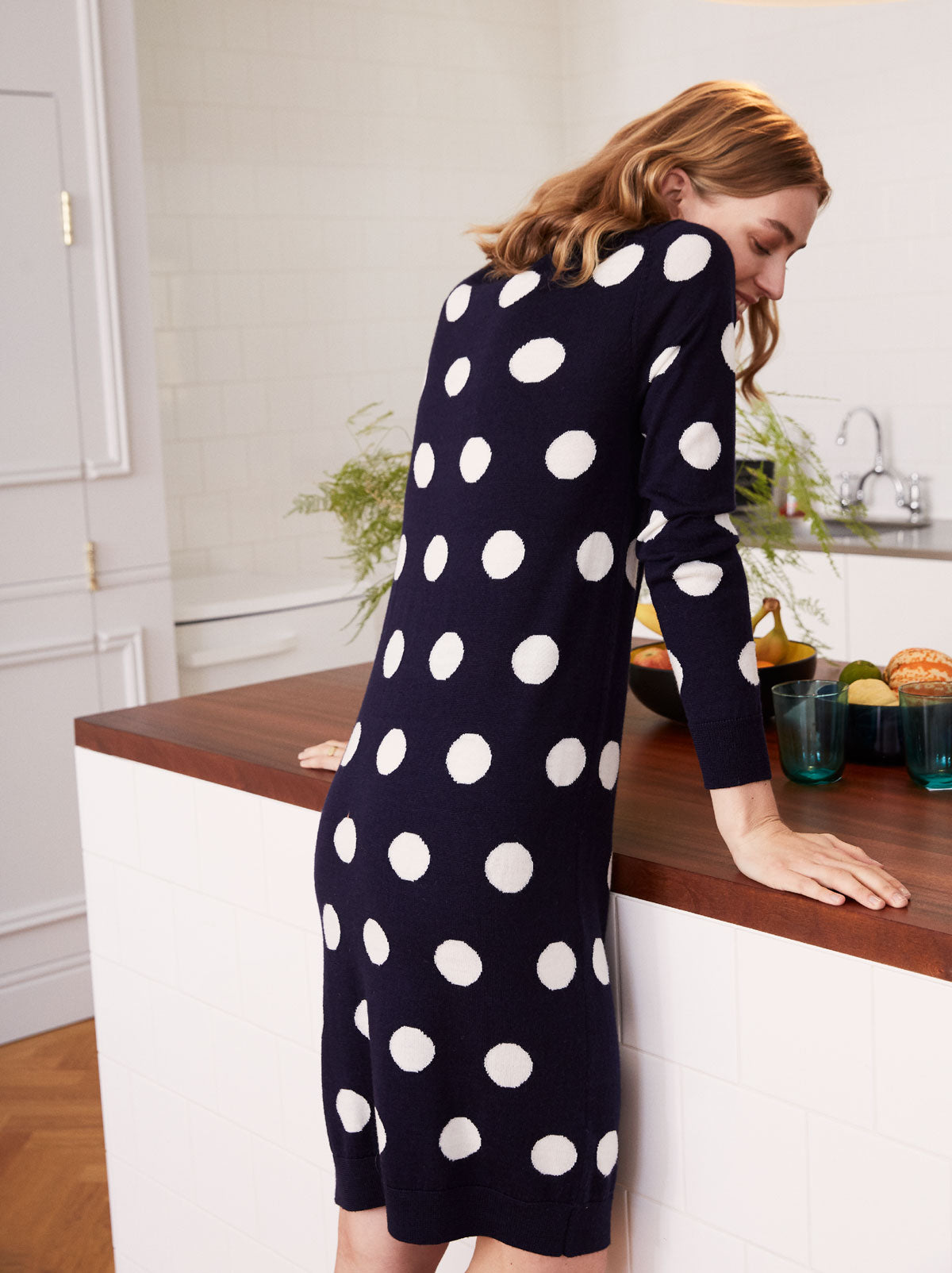 Erica Navy Merino Polka Dot Knit Dress by KITRI Studio