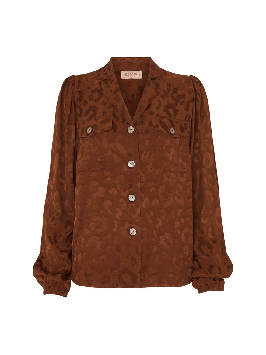Faye Animal Print Vintage Blouse by KITRI Studio