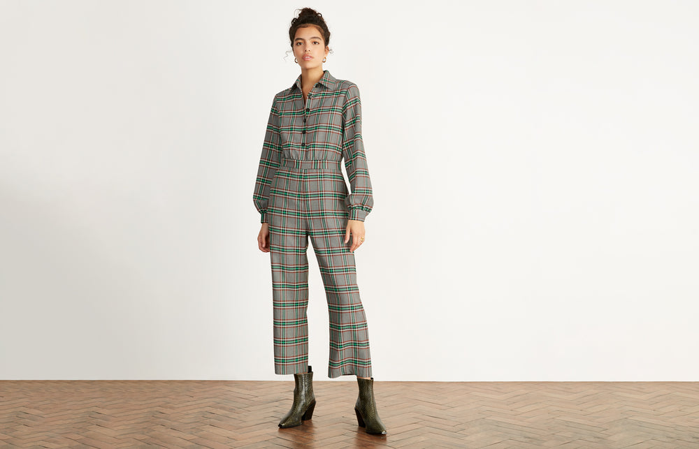 Flora Check Tailored Jumpsuit by KITRI Studio