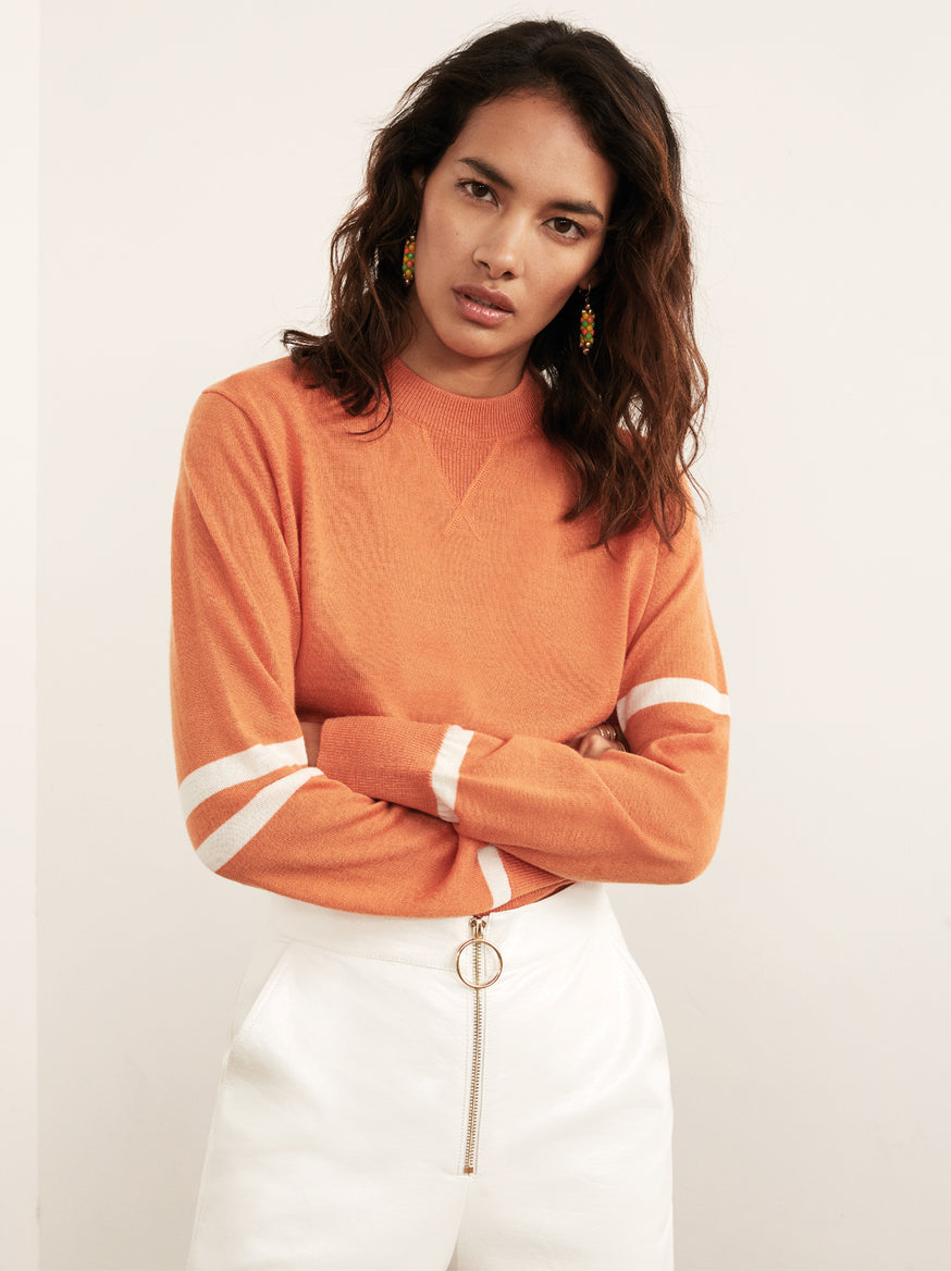 Florrie Orange Crew Neck Jumper